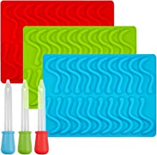 Gummy Worm Silicone Molds with 3 Droppers, SENHAI 3 Pack Gumdrop Molds Ice Cube Trays for Jelly Chocolate Soap Cake Wax, A...
