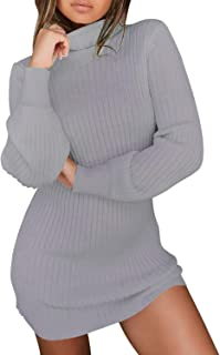 Lisli Women's Long Sleeve Sweater Dress Turtleneck Bodycon Mini Dress Pullover