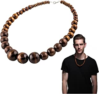 Wood Bead Necklace Vintage Indian Jewelry Statement Unisex Chunky Necklaces African Wooden Chain