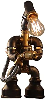 E2С-Loft Handmade Lamp- Steampunk Industrial Style- Pipe Desk Light with Dimmer - Robot Flametrooper