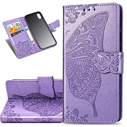 COTDINFOR Etui für Xiaomi Redmi 7A Hülle PU Leder Schutzhülle Magnet Tasche Flip Handytasche im Bookstyle Kartenfächer Lederhülle für Xiaomi Redmi 7A Flower Butterfly Light Purple SD