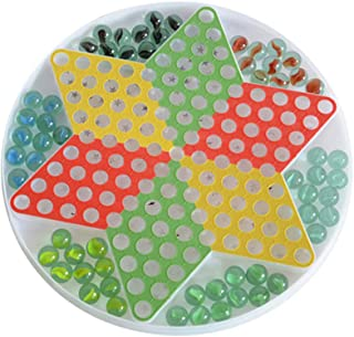 TOYANDONA Chinese Checkers Glass Beads Chinese Draughts Plastic Hexagonal Board Game Toy Chinese Checkers for Students Chi...