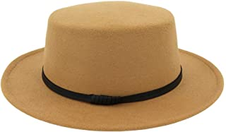 JESPER Unisex Wide Brim Wool Belt Felt Flat Top Fedora Hat Party Church  Trilby Hats Cap 29be6461f109