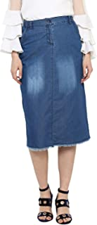 StyleStone (3379SkirtMnky) Women's Denim Skirt with Monkey Wash
