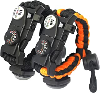 leizhan 2 Pcs 21 in 1 Adjustable Paracord Survival Bracelet | Include SOS LED Flashlight, Bigger Compass, Thermometer, Fire Starter, Rescue Whistle and Tactical Emergency Gear Kit
