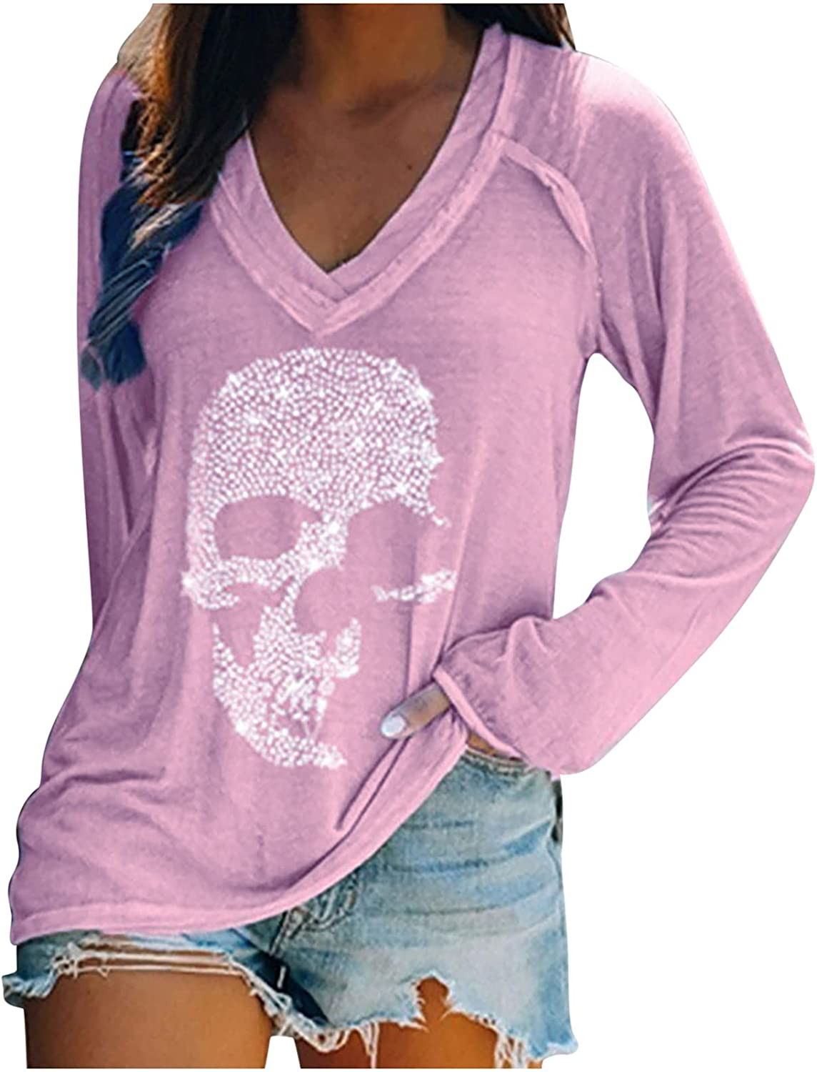 Womens Halloween Skeleton Fingers Hold Flower Print Distressed Tunic Top Blouse Casual Long Sleeve V- Neck Loose Shirt