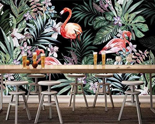 3D vliesbehang foto vlies premium fotobehang behang met de hand beschilderde flamingo tropisch regenwoud Zuidoost-Azië wandafbeelding bank tv achtergrond wanden 3D wallpaper 400*280 400 x 280 cm.