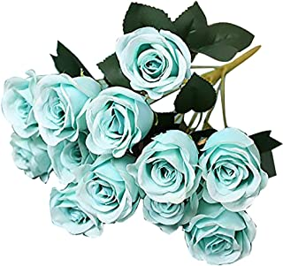 Greentime Fake Flowers 16 Inches Artificial Silk Rose Bouquet 12 Heads Vintage Rose for Wedding Home Party Valentine's Day Holiday Decoration (Mint Blue)