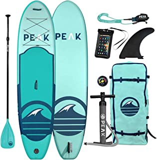 Peak 充气 10'6 *站立桨板完整包装(15.24 厘米厚)| 包括可调节桨、旅行背包、线圈牵绳