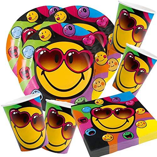 52-teiliges Party-Set Smiley Express Yourself - Teller Becher Servietten für 16 Personen
