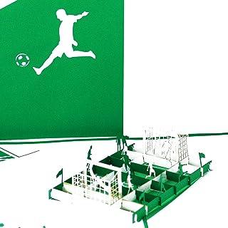 Pop Up KarteFußballfan - Grün & Weiß – 3D Fußball Geburtstagskarte & Einladungskarte zum Geburtstag für Fans & Supporter aus Bremen, Wolfsburg, Paderborn, Bielefeld, Fürth u.v.m.