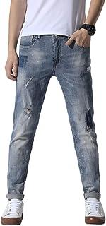 Lente en zomer halfhoge cropped jeans voor heren, modieuze patch met gescheurde letterprint Trend en stretch slim-fit jeans