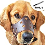 Adjustable Anti-biting Dog Leather Muzzle, Breathable Safety Pet Puppy Muzzles Mask for Biting and Barking (stop dogs from biting, barking, and chewing) (M, Brown)