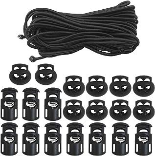 "20 PCS Plastic Cord Locks & Elastic Bungee Nylon Shock Cord 5/32"" 50 ft Lengths, SourceTon 10 PCS Sing-Hole, 10 PCS Doubl..."