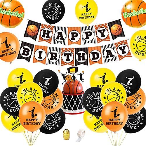 AYUQI Basketball Geburtstagsdeko Jungen mit DIY Cake Topper, Happy Birthday Banner, folienballon Schwarz Gold Luftballon für Sport Themed Geburtstags Festival Party Games Dekoration