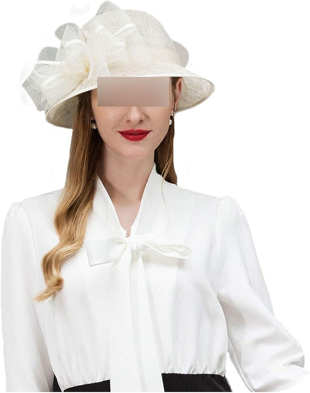 Elegant White Black Pink Sinamay Womens Hats Wide Brim Linen Wedding Summer Ladies Hat