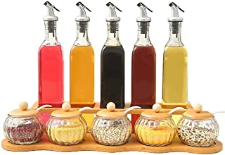 Mzxun 10-pièces, verre plein pot à épices vinaigre et huile liquide Cruet, Bois de Bambou Assaisonnement Organisateur de s...