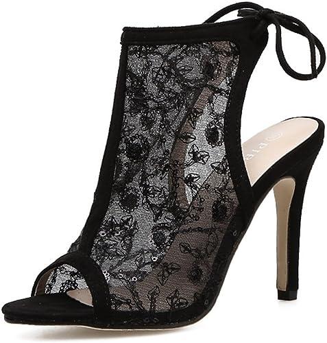 SASA Sandales d'été Femmes Chaussures sculptées Mesh Mesh Sangles de Gaze Stiletto Super High Heel Fish Bouche Sandales, noir, EU38 UK5-5.5