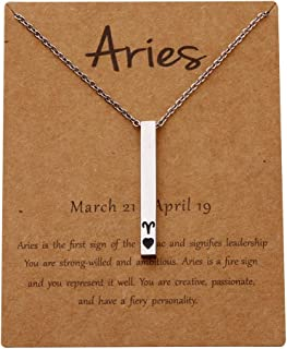 POTIY 12 Zodiac Sign Pendant Necklace with Horoscope Constellations Message Card Astrology Necklace for Women Birthday Gift