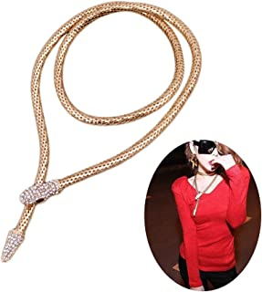 Personality Flexible Bendable Magnet Snake Necklace,Opening Adjustable Python Rhinestone Choker Sweater Necklace Waist Chain for Women Girls Party Gifts