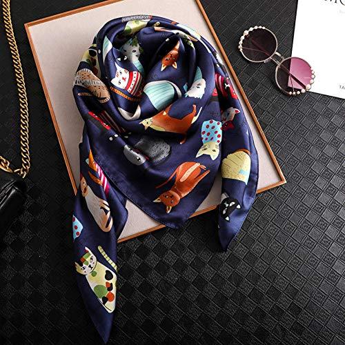TLXOZ Pañuelo Cuadrado Mujer Moda Gato Estampado de Seda Bufandas y Abrigo Señoras Retro Oficina Cabello Cuello Foulard
