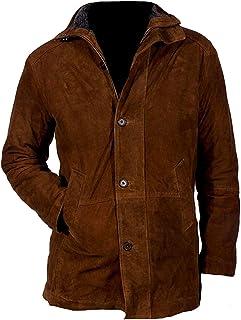 Mens Longmire Walt Mysteries Robert Sheriff Brown Suede Leather Jacket : Winter Special Sale