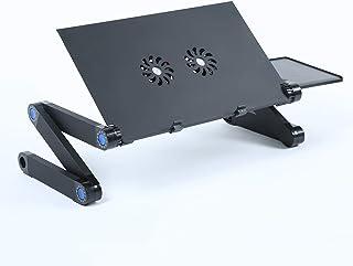Goolfly Aluminium Adjustable Laptop Stand Lightweight Portable Laptop Table Office Laptop Riser Standing Desk with 2 Cooli...