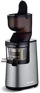 BioChef Atlas Whole Slow Juicer (200W / 40 RPM/Wide Chute Juicer, Masticating Juicer, Big Mouth' Cold Press Juicer, Whole Fruit & Vegetable Juicer - Retains Nutrients (Silver)