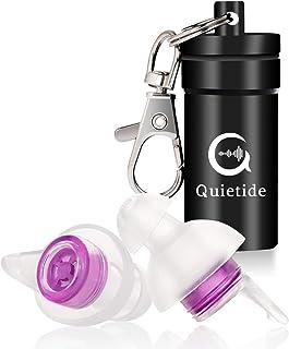 【最新開発の睡眠用耳栓!】Quietide 耳栓 安眠 防音 遮音値31dB 睡眠 飛行機 仕事 勉強 水洗い可能 繰り返し使用可能 携帯ケース付き 一年保証 日本語説明書付 Q4 紫