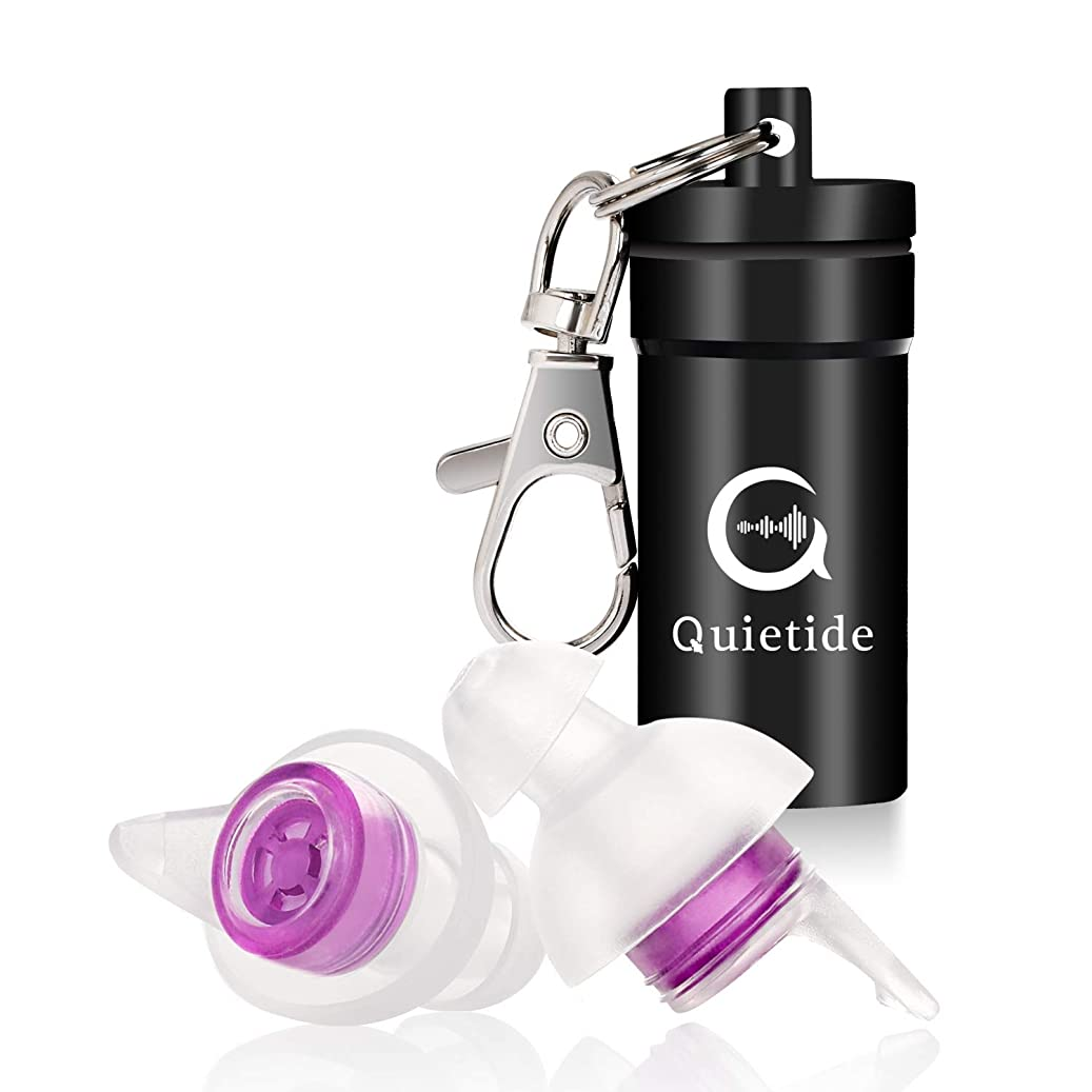 レーダー人柄無し【最新開発の睡眠用耳栓!】Quietide 耳栓 安眠 防音 遮音値31dB 睡眠 飛行機 仕事 勉強 水洗い可能 繰り返し使用可能 携帯ケース付き 一年保証 日本語説明書付 Q4 紫