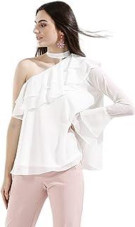 Koovs White Asymmetrical Neck Blouse For Women