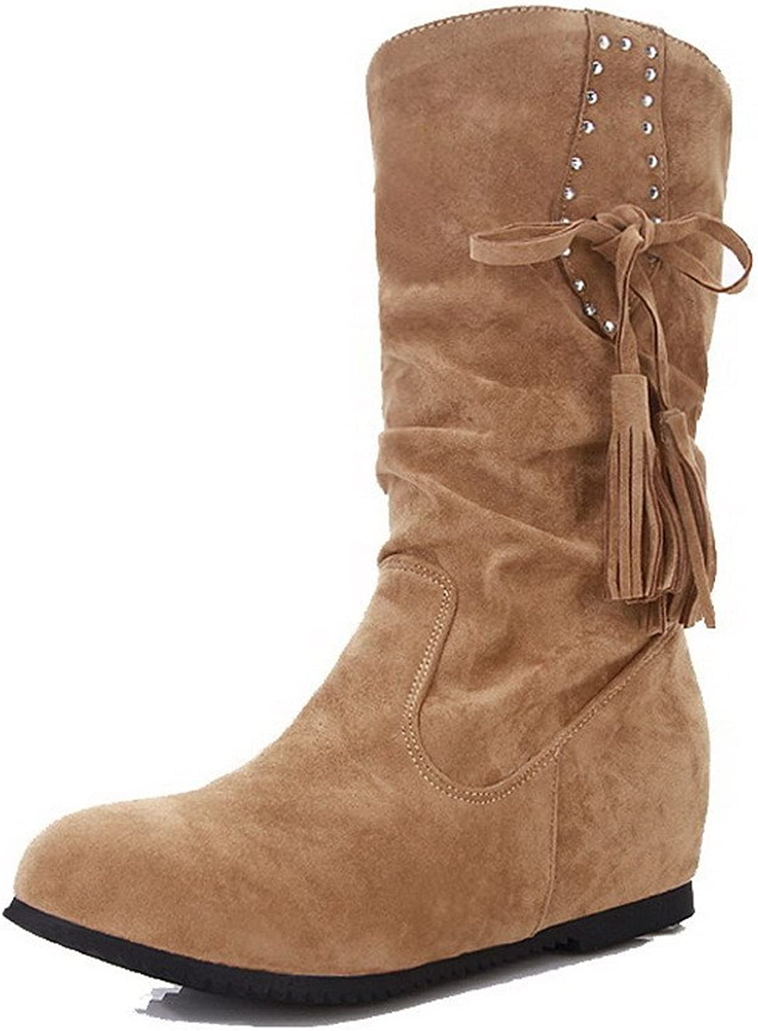 AllhqFashion Women's Frosted Pull-On Round Closed Toe Kitten-Heels Low-Top Boots