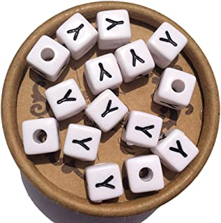 EmmaGreen Beads for Jewelry Making Letter Beads White Beads 10mm 100pcs Acrylic Beads Separate Alphabet Beads Cube Beads f...