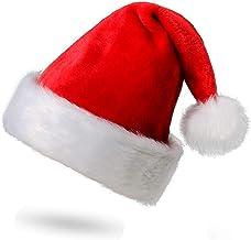 Funhoo Gorro de Papá Noel de Felpa, Gorro de Navidad, Rojo Sombrero Navideño Suave de Santa, Fina Decoración de Navidad para Adultos y Niños, Talla Única (1Pc)