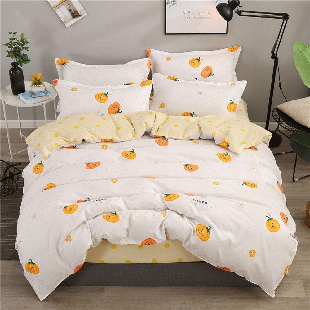 Anjos Orange Pumpkin Halloween Duvet Cover Set Bedding Set - Microfiber Polyester Cotton - Duvet Cover,Sheet,Pillow Cases