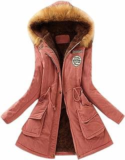 Women Coat Inner Plush, Women Fur Collar Hooded Jacket Slim Winter Parka Outwear