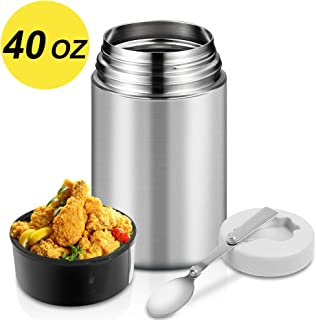 Food Thermos,40oz Insulated Food Jar for Hot Food with Folding Spoon and Handle,Leak Proof Wide Mouth Soup Thermos,Stainless Steel Thermal Lunch Container,Insulated Food Flask for Outdoors (Silver)
