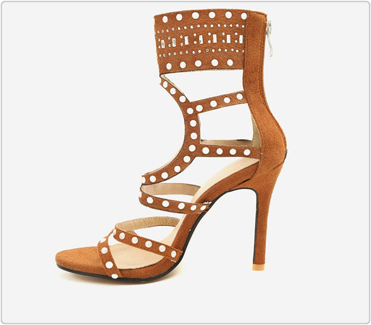Yyixianma Summer Women Gladiator Sandals Ladies Sexy Street Beat Sandals Woman Large Size Thin High Heel Party shoes Brown 7.5