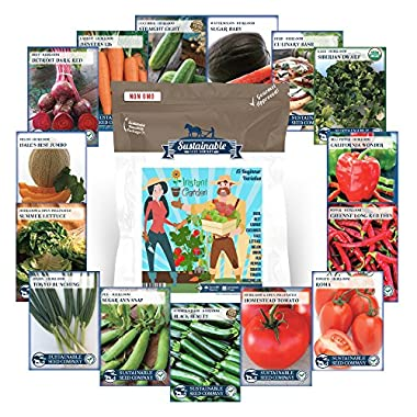 Instant Garden, Heirloom Vegetable Seed Collection, 15 Variety Non GMO Heirloom Basil, Beet, Carrot, Cucumber, Kale, Lettuce, Melon, Onion, Pea, Pepper, Squash, Tomato and Watermelon Seeds