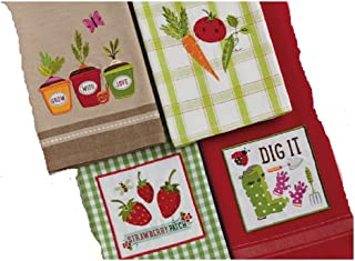 DII Design Imports Set of 4 Garden Veggie Embroidered Kitchen Towels Grow with Love Dig It Strawberry Patch Embellished Di...