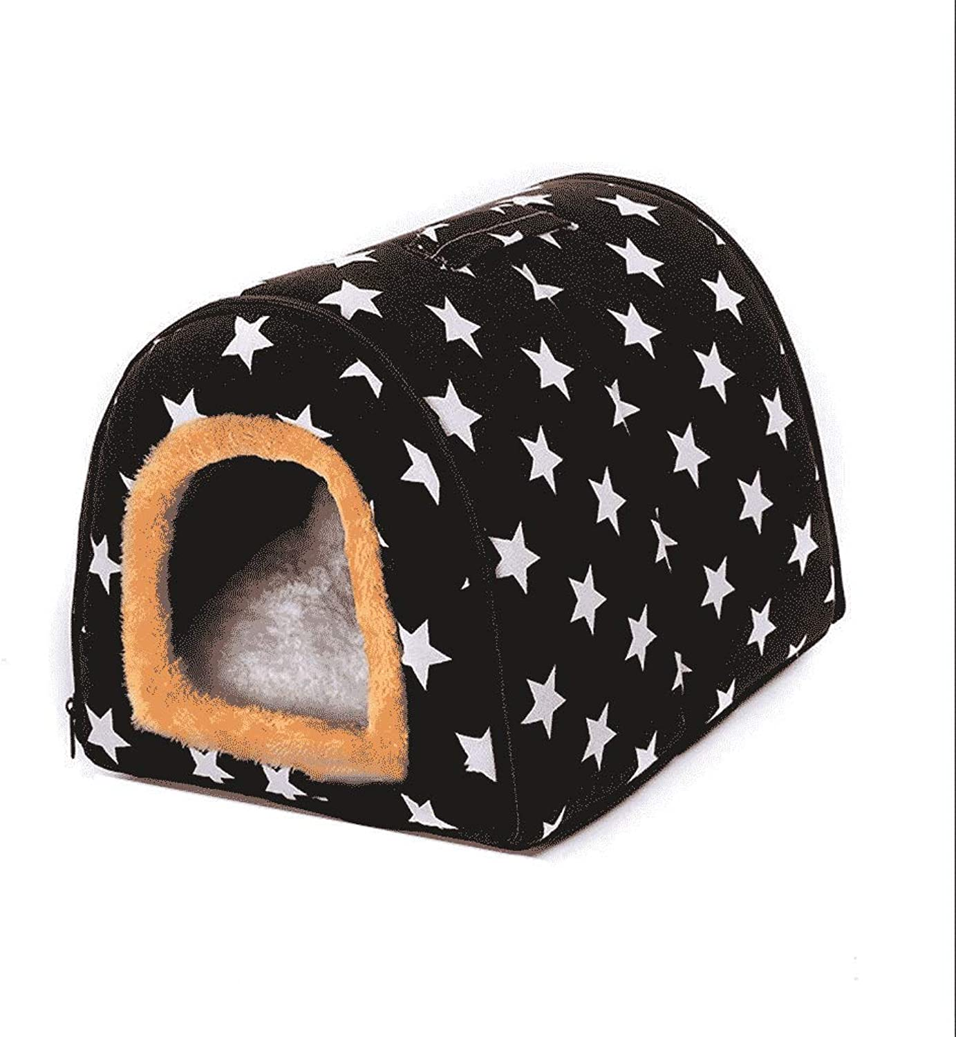 FJH Kennel Winter Warm Large Dog Cat Indoor Kennel Cat Litter Four Seasons General Medium Small Pet (Size   S)