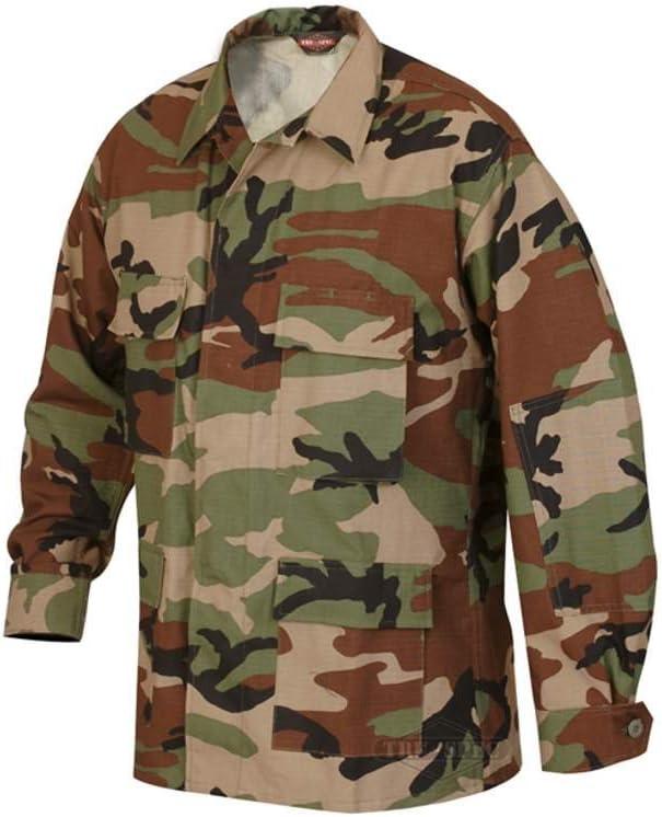 Tru Spec BDU Tatical 4 Pocket Shirt Coat Long Sleeve KHAKI Poly Cotton Rip Stop