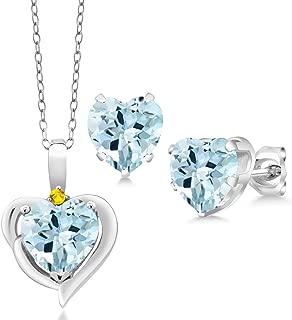 Gem Stone King 5.67 Ct Sky Blue Topaz Yellow Sapphire 925 Sterling Silver Pendant Earrings Set