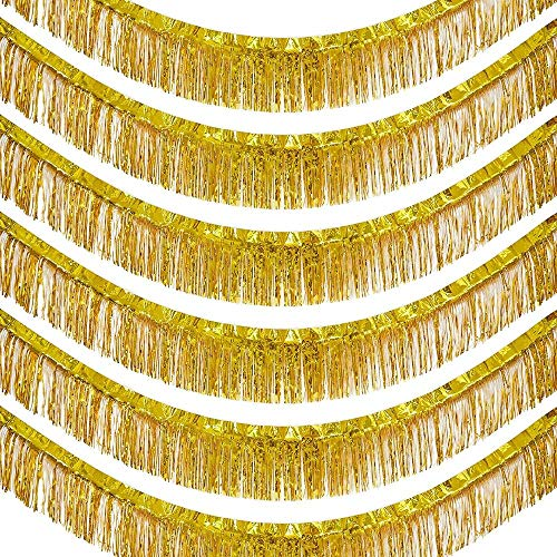 Gold Foil Fringe Garland, Hanging Metallic Tinsel Decor (15 x 10 in, 6 Pack)