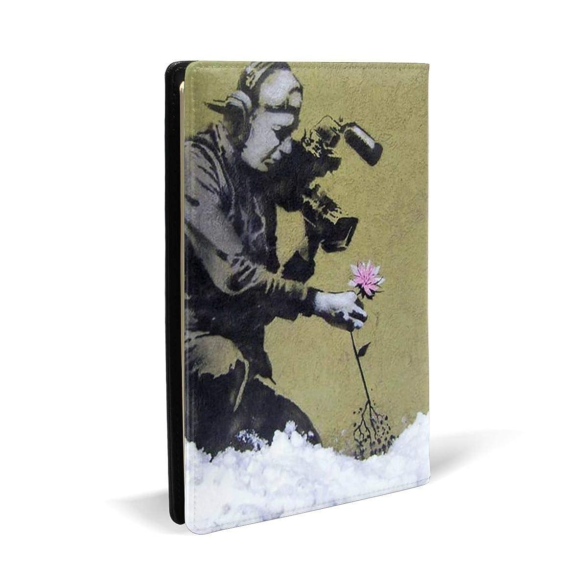 イタリック志すグッゲンハイム美術館ブラックサーカス ブックカバー A5 PUレザー Banksy バンクシー 文庫本カバー オフィス用品 文房具 カバー 学習用品