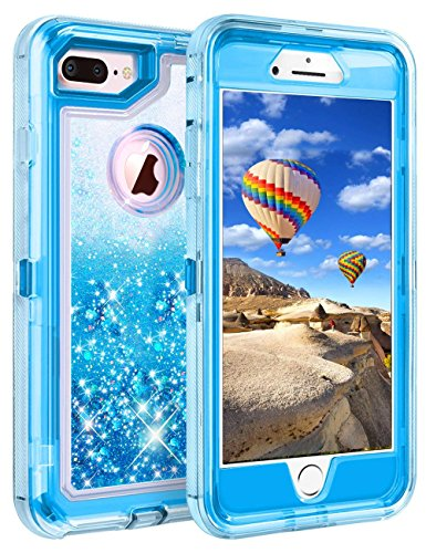 Coolden Case for iPhone 8 Plus Case Protective Glitter Case for Women Girls Cute Bling Sparkle 3D Quicksand Heavy Duty Hard Shell Shockproof TPU Case for iPhone 6s Plus 7 Plus 8 Plus, Blue