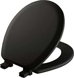 Mayfair 41EC 047 Molded Wood Toilet Seat with Easy Clean & Change Hinges and STA-TITE Seat Fastening System, Round, Black