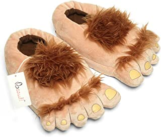 Ibeauti Womens Furry Monster Adventure Slippers, Comfortable Novelty Warm Winter Hobbit Feet Slippers for Adults