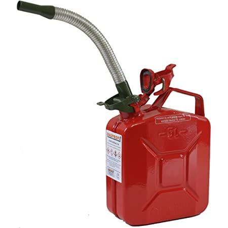 Stahlblechkanister Rot 5 Liter Benzinauslaufrohr Flexibel Benzinkanister Kanister Set Auto