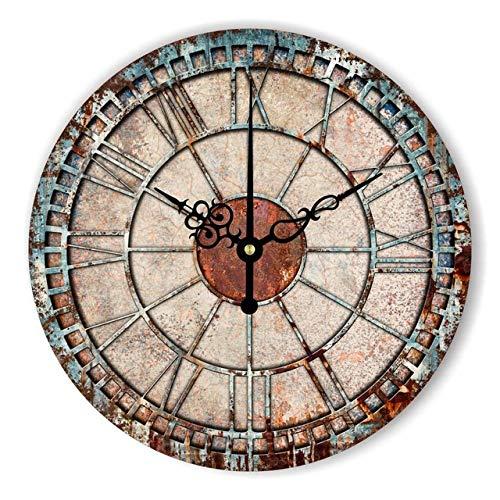 FOOSKOO Wall Clocks Horloge Murale Style rétro Vintage Vintage muet Grande Horloge Murale Montre Shabby Chic Home Decor Salon 16 Pouces / 40 cm (Conception : A)